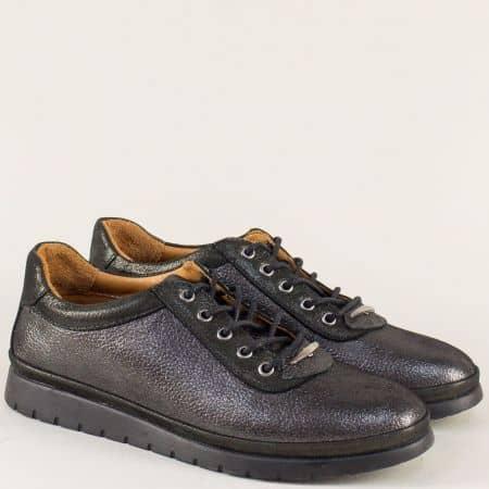 Сиви дамски обувки на равно ходило от естествена кожа m604sv