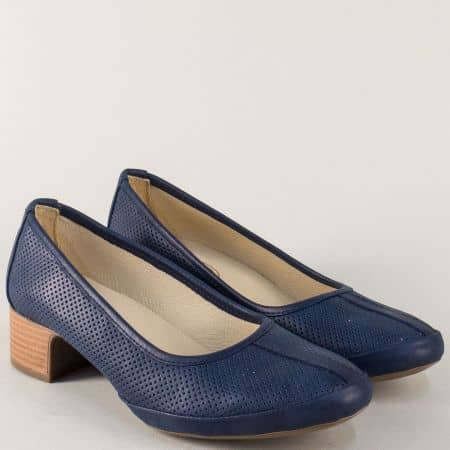 Кожени дамски обувки на среден ток в син цвят m607s