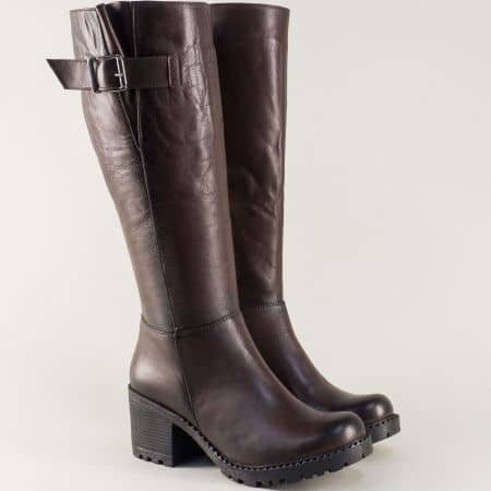Дамски ботуши от тъмно кафява естествена кожа m610kk