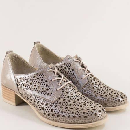 Комфортни кожени дамски обувки с перфорация и връзки m623sbj