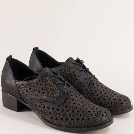 Черни дамски обувки на нисък ток от естествена кожа и сатен m623sch