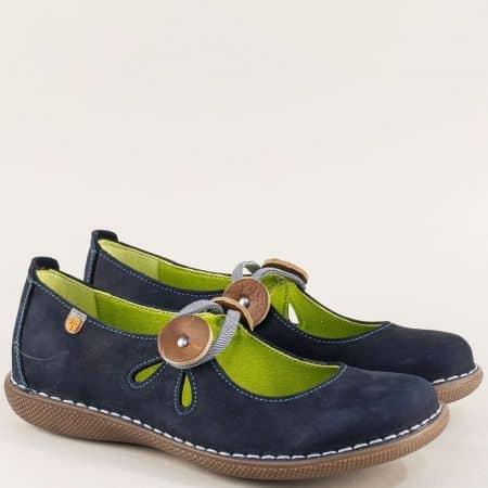 Анатомични дамски обувки в син цвят от естествен набук m6276nts