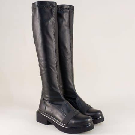 Дамски ботуши на нисък ток от естествена кожа в черно m62ch