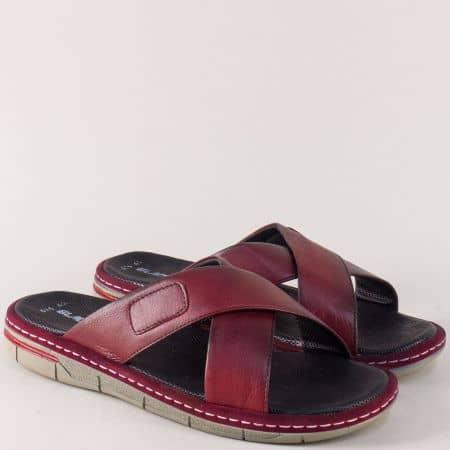 Кожени мъжки чехли в цвят бордо на шито ходило m636bd