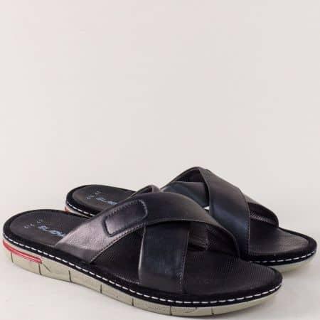 Шити мъжки чехли в черен цвят с кожена стелка m636ch