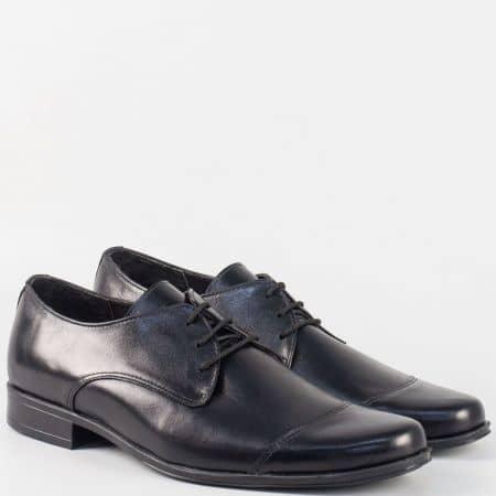 Официални мъжки обувки с връзки от черна естествена кожа- български производител m637ch
