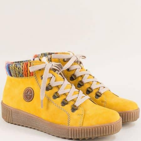 Дамски боти Rieker в жълт цвят  на каучуково ходило  m6411nj