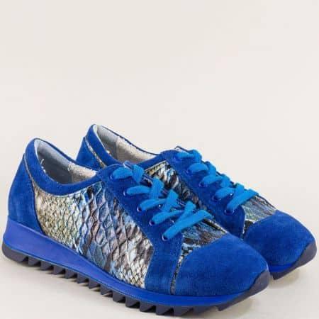 Сини дамски маратонки от естествен велур и кожа m697zs