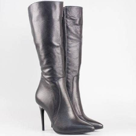 Дамски елегантни ботуши на висок ток от висококачествена естествена кожа в черен цвят m698ch