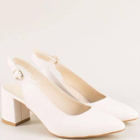 Дамски обувки с отворена пета на висок ток в бежово ma698lbj