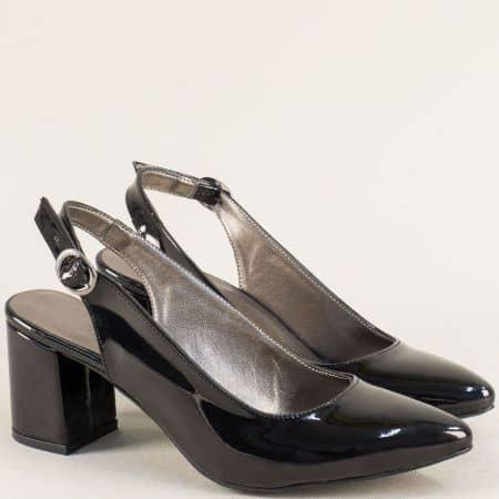 Дамски обувки с отворена пета и висок ток в черен цвят ma698lch