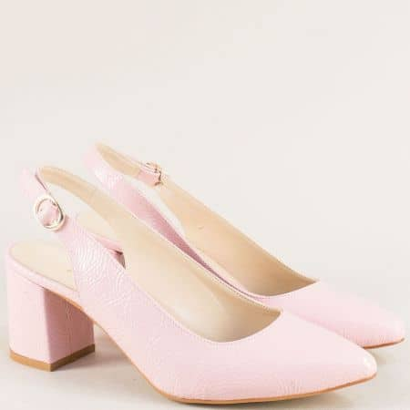 Дамски обувки на стабилен висок ток в розов цвят ma698lrz