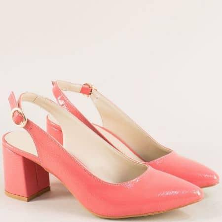 Дамски обувки с отворена пета в цвят корал на висок ток ma698ltrz