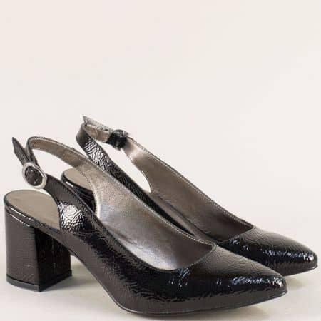 Черни лачени дамски обувки с отворена пета на висок ток ma698mlch