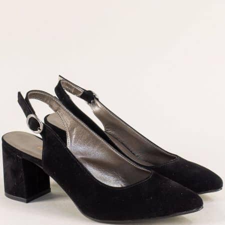 Дамски обувки с отворена пета в черен цвят на висок ток ma698vch