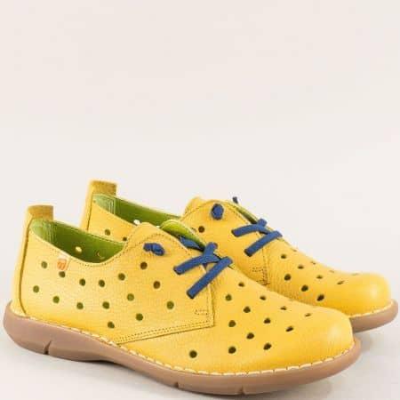 Испански дамски обувки на анатомично ходило в жълт цвят m7033j