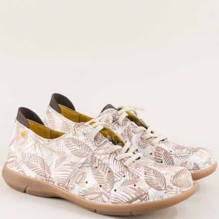 Дамски обувки в кафяво и бяло на шито ходило- Jungla m7039bk