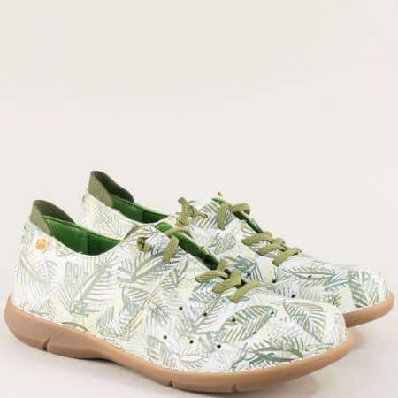 Испански дамски летни обувки в бяло и зелено  m7039bz