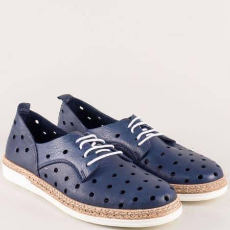 Тъмно сини дамски обувки с връзки от естествена кожа  m703s