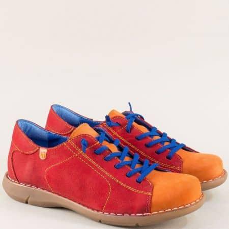 Дамски обувки от естествен набук в червено и оранж m7046nchvo