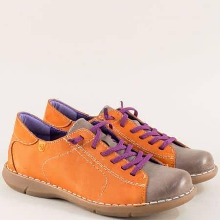 Дамски обувки в оранж и кафяво с лилави ластични връзки m7046nok