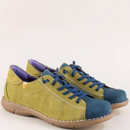 Дамски обувки на каучуково ходило в зелено и синьо m7046nzs