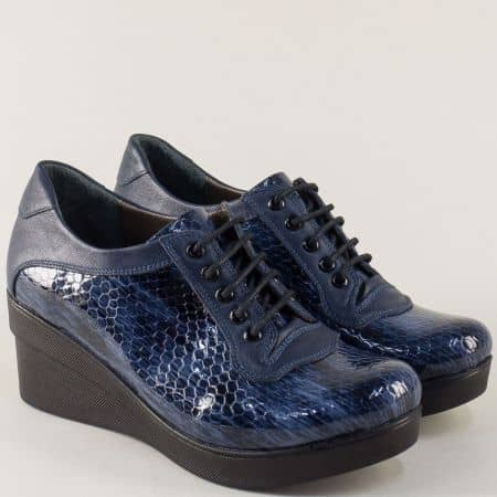 Дамски обувки в син цвят с връзки и кожена стелка m706krs