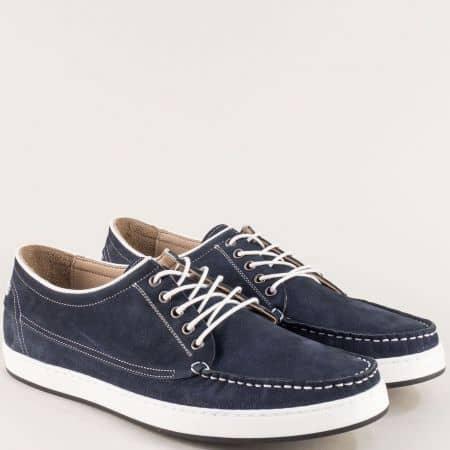 Сини мъжки обувки на шито ходило от естествен набук m707ns