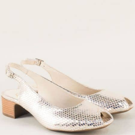 Златни дамски сандали от естествена кожа на среден ток m708zl