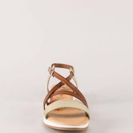 7721282f8ad Дамски сандали в тъмно кафяво, кафяво и златно- Marila m721kzl - Sisi-bg.com