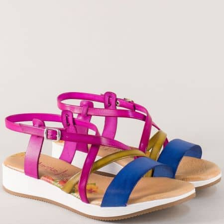 Дамски сандали на платформа в циклама, кафяво и синьо m721ps