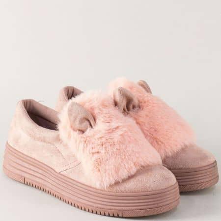 Дамски спортни обувки в розов цвят на комфортна платформа m7317rz