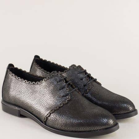 Равни дамски обувки с връзки от черна естествена кожа m74ch