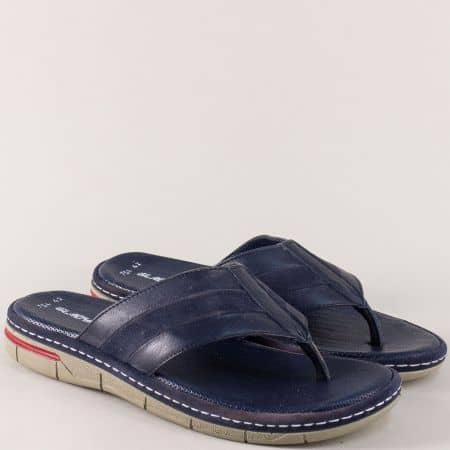 Кожени мъжки чехли в тъмно син цвят на удобно ходило m754s