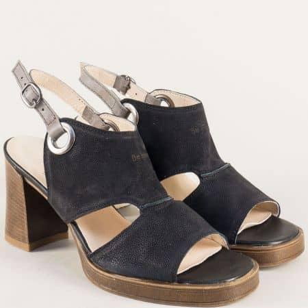 Български дамски сандали на висок ток в черен цвят m7605ch