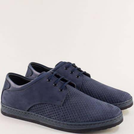 Шити мъжки обувки от естествен набук в син цвят m76ns
