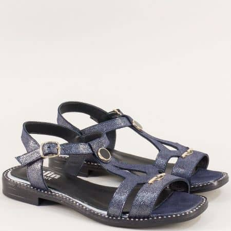 Равни дамски сандали в синьо от сатен и естествена кожа m780ss