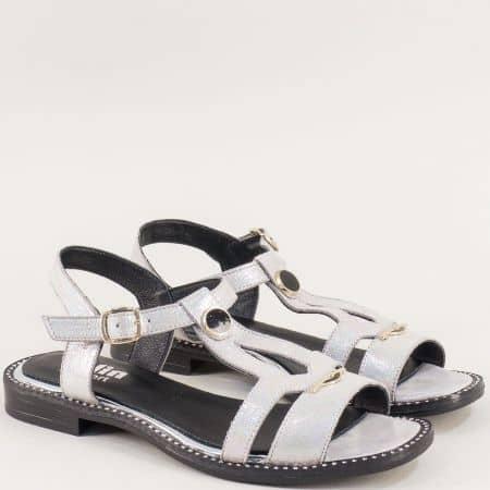 Сребърни дамски сандали с кожена сетлка и катарама m780ssr