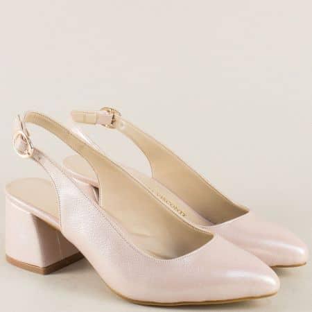 Елегантни дамски обувки в цвят пудра на среден ток m798srz