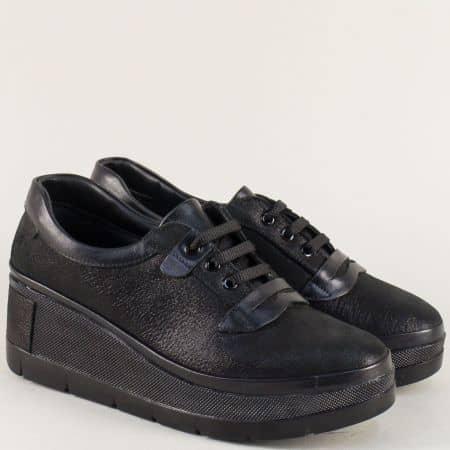 Черни дамски обувки с перлен блясък на платформа m807ch