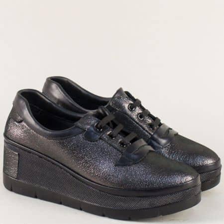 Кожени дамски обувки в сив цвят с перлен блясък m807sv