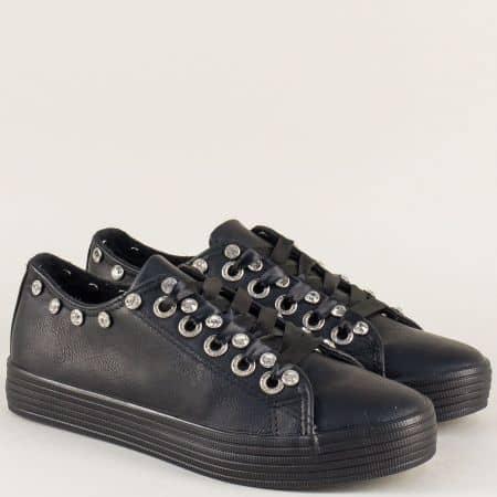 Спортни дамски обувки с връзки в черен цвят m808ch