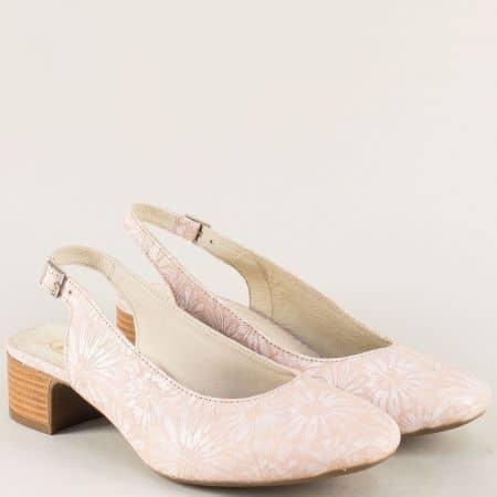 Розови дамски обувки с отворена пета от естествена кожа m819rz
