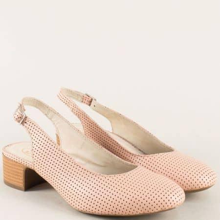 Кожени дамски обувки с отворена пета в розов цвят m819drz