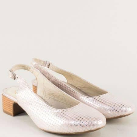 Сребърни дамски обувки с отворена пета на нисък ток m819sr