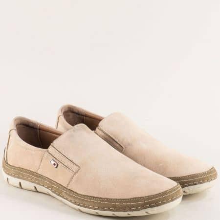 Бежови мъжки обувки на шито ходило с два ластика m83nbj