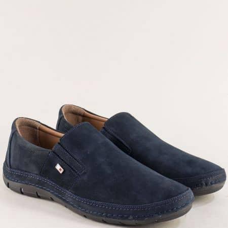 Сини мъжки обувки с два ластика от естествен набук m83ns
