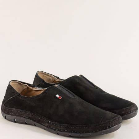 Черни мъжки обувки на шито ходило с кожена стелка m84nch