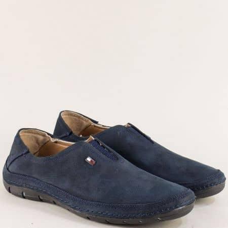 Тъмно сини мъжки обувки с ластик от естествен набук m84ns