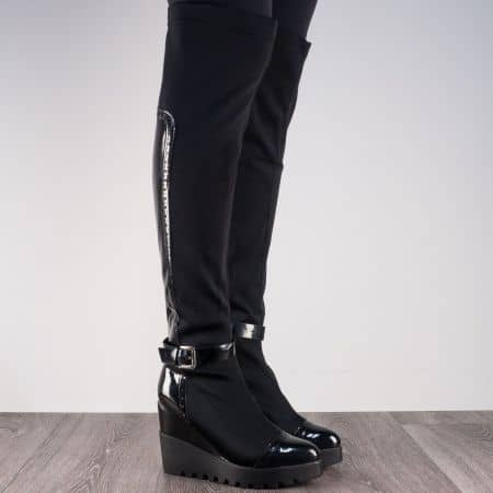 Стречов дамски ботуши на модерна висока платформа в черен цвят m852ch